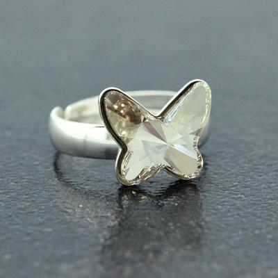 Bague en Cristal et Argent Bague Papillon 12mm en Argent et Cristal Silver Shade