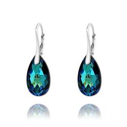 Boucles d'Oreilles Mini Goutte 16mm en Argent et Cristal Bleu Bermude