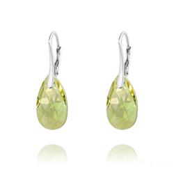 Boucles d'Oreilles Mini Goutte 16mm en Argent et Cristal Luminous Green