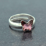 Wholesale Butterfly 8mm Silver Ring with Swarovski Crystal - Antique Pink
