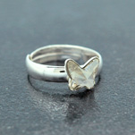 Wholesale Butterfly 8mm Silver Ring with Swarovski Crystal - Silver Shade