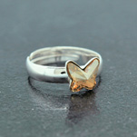 Wholesale Butterfly 8mm Silver Ring with Swarovski Crystal - Golden Shadow