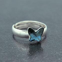Bague en Cristal et Argent Bague Papillon 8mm en Argent et Cristal Denim Blue