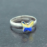 Wholesale Butterfly 8mm Silver Ring with Swarovski Crystal - White AB