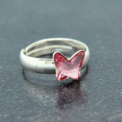 Wholesale Butterfly 8mm Silver Ring with Swarovski Crystal