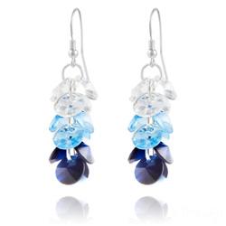 Boucles d'Oreilles en Cristal et Argent Boucles d'Oreilles Rivoli 3 Couleurs en Argent et Cristal Bleu