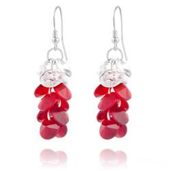 Boucles d'Oreilles en Cristal et Argent Boucles d'Oreilles Rivoli 3 Couleurs en Argent et Cristal Rouge