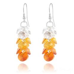 Boucles d'Oreilles en Cristal et Argent Boucles d'Oreilles Rivoli 3 Couleurs en Argent et Cristal Orange