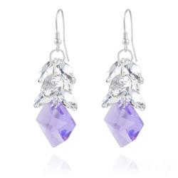 Boucles d'Oreilles Cosmic Grapes en Argent et Cristal Violet