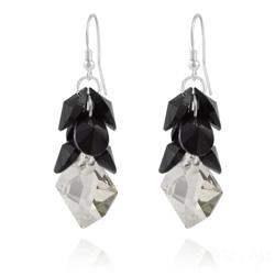 Boucles d'Oreilles Cosmic Grapes en Argent et Cristal Noir