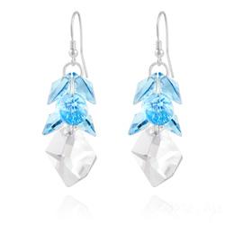Boucles d'Oreilles Cosmic Grapes en Argent et Cristal Bleu