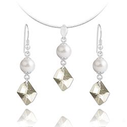 Parure Cosmic Pearl en Argent et Cristal Silver Shade