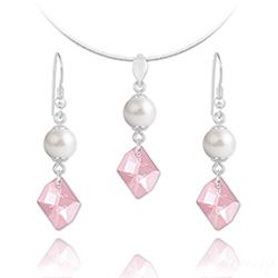 Parure Cosmic Pearl en Argent et Cristal Rose Clair