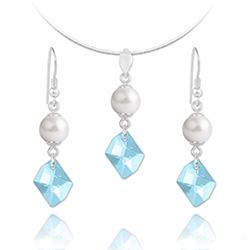Parure Cosmic Pearl en Argent et Cristal Bleu