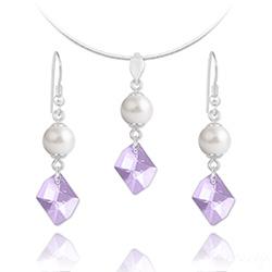 Parure Cosmic Pearl en Argent et Cristal Violet