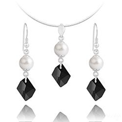 Parure Cosmic Pearl en Argent et Cristal Noir