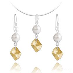 Parure Cosmic Pearl en Argent et Cristal Champagne