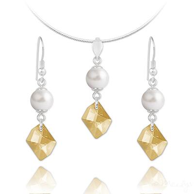 Parure en Cristal et Argent Parure Cosmic Pearl en Argent et Cristal Champagne