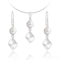 Parure Cosmic Pearl en Argent et Cristal Blanc