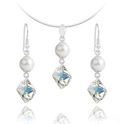 Parure Cosmic Pearl en Argent et Cristal Aurore Boréale