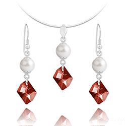 Parure en Cristal et Argent Parure Cosmic Pearl en Argent et Cristal Rouge Magma