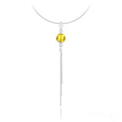 Collier Pompon Pearl en Argent et Cristal Jaune Sunflower