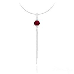 Collier Pompon Pearl en Argent et Cristal Rouge Siam