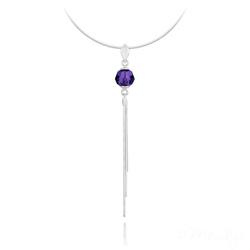 Collier Pompon Pearl en Argent et Cristal Purple Velvet