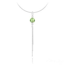 Collier Pompon Pearl en Argent et Cristal Vert Péridot