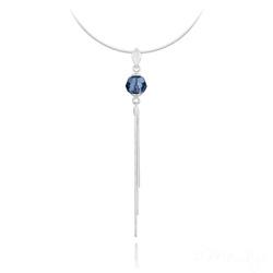 Collier Pompon Pearl en Argent et Cristal Bleu Montana