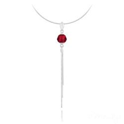 Collier Pompon Pearl en Argent et Cristal Rouge Light Siam