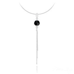 Collier Pompon Pearl en Argent et Cristal Noir