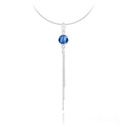 Collier Pompon Pearl en Argent et Cristal Caprie Blue