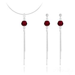 Parure Pompon Pearl en Argent et Cristal Rouge Siam