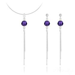 Parure Pompon Pearl en Argent et Cristal Purple Velvet