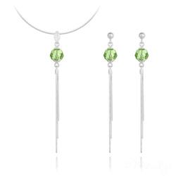 Parure Pompon Pearl en Argent et Cristal Vert Péridot
