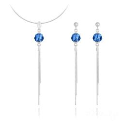 Parure Pompon Pearl en Argent et Cristal Capri Blue