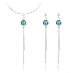 Parure Pompon Pearl en Argent et Cristal Blue zircon