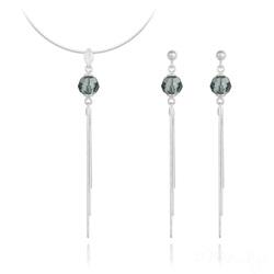 Parure Pompon Pearl en Argent et Cristal Black Diamond