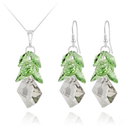 Parure Cosmic Grapes en Argent et Cristal  Vert Péridot