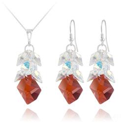Parure Cosmic Grapes en Argent et Cristal  Rouge Magma