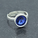 Wholesale Rivoli 8mm Silver Ring with Swarovski Crystal - Sapphire