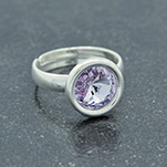 Wholesale Rivoli 8mm Silver Ring with Swarovski Crystal - Violet