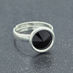 Wholesale Rivoli 8mm Silver Ring with Swarovski Crystal - Jet