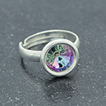 Wholesale Rivoli 8mm Silver Ring with Swarovski Crystal - Vitrail Light
