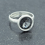 Wholesale Rivoli 8mm Silver Ring with Swarovski Crystal - Silver Night