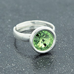 Wholesale Rivoli 8mm Silver Ring with Swarovski Crystal - Peridot