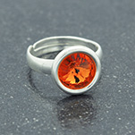 Wholesale Rivoli 8mm Silver Ring with Swarovski Crystal - Tangerine