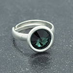 Wholesale Rivoli 8mm Silver Ring with Swarovski Crystal - Emerald