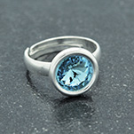 Wholesale Rivoli 8mm Silver Ring with Swarovski Crystal - Aquamarine
